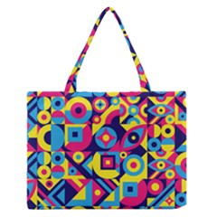 Doodle Pattern Zipper Medium Tote Bag by designsbymallika