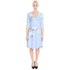Blue Marble Print Wrap Up Cocktail Dress