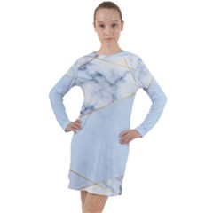 Blue Marble Print Long Sleeve Hoodie Dress