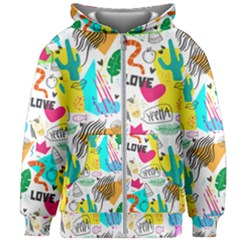 Doodle Pattern Kids  Zipper Hoodie Without Drawstring by designsbymallika