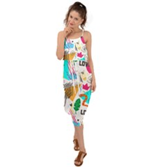 Doodle Pattern Waist Tie Cover Up Chiffon Dress