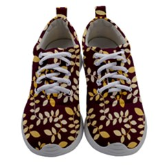Golden Leaf Pattern Women Athletic Shoes by designsbymallika