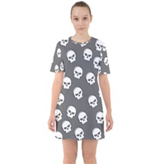 White Skull Pattern Sixties Short Sleeve Mini Dress