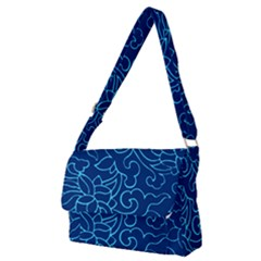 Blue Floral Print Full Print Messenger Bag (m) by designsbymallika
