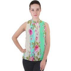 Stripes Floral Print Mock Neck Chiffon Sleeveless Top