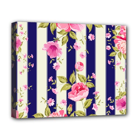 Stripes Floral Print Deluxe Canvas 20  X 16  (stretched) by designsbymallika