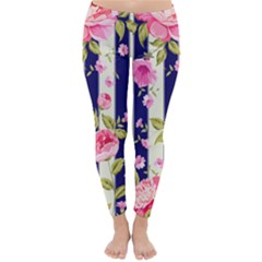 Stripes Floral Print Classic Winter Leggings