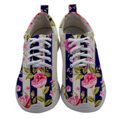 Stripes Floral Print Women Athletic Shoes by designsbymallika
