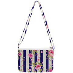 Stripes Floral Print Double Gusset Crossbody Bag