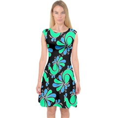 Peacock Pattern Capsleeve Midi Dress