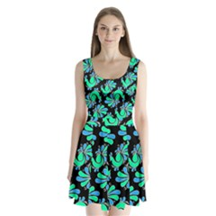 Peacock Pattern Split Back Mini Dress