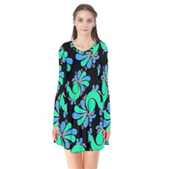 Peacock Pattern Long Sleeve V Neck Flare Dress