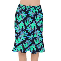 Peacock Pattern Short Mermaid Skirt by designsbymallika