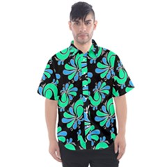 Peacock Pattern Men s Short Sleeve Shirt