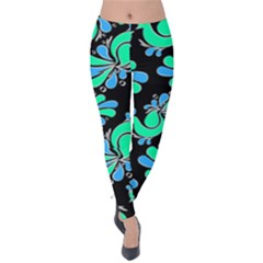 Peacock Pattern Velvet Leggings