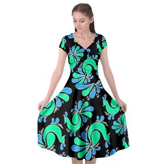 Peacock Pattern Cap Sleeve Wrap Front Dress