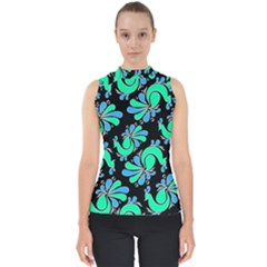 Peacock Pattern Mock Neck Shell Top
