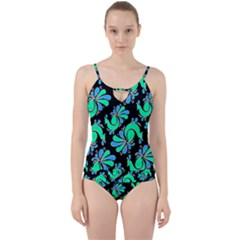 Peacock Pattern Cut Out Top Tankini Set