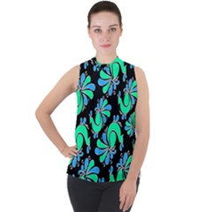 Peacock Pattern Mock Neck Chiffon Sleeveless Top