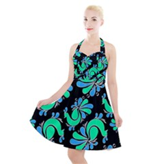 Peacock Pattern Halter Party Swing Dress
