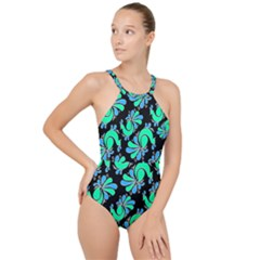 Peacock Pattern High Neck One Piece Swimsuit