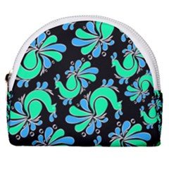 Peacock Pattern Horseshoe Style Canvas Pouch