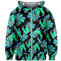 Peacock Pattern Kids  Zipper Hoodie Without Drawstring