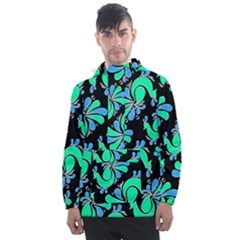 Peacock Pattern Men s Front Pocket Pullover Windbreaker