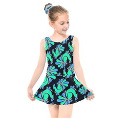 Peacock Pattern Kids  Skater Dress Swimsuit