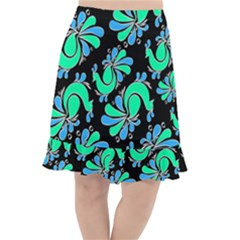 Peacock Pattern Fishtail Chiffon Skirt