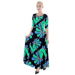 Peacock Pattern Half Sleeves Maxi Dress by designsbymallika