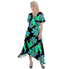 Peacock Pattern Cross Front Sharkbite Hem Maxi Dress