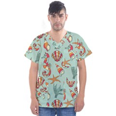 Coral Love Men s V Neck Scrub Top