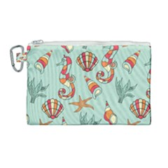 Coral Love Canvas Cosmetic Bag (large)