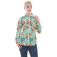Coral Love Women s Long Sleeve Pocket Shirt