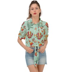 Coral Love Tie Front Shirt