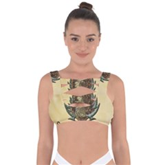 Wonderful Deer With Leaves And Hearts Bandaged Up Bikini Top