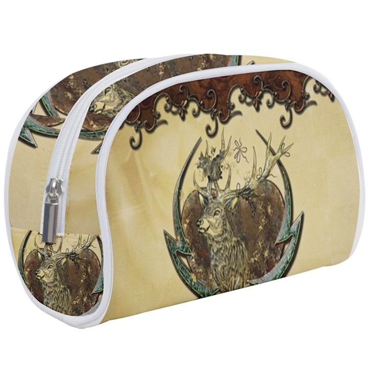 Wonderful Deer With Leaves And Hearts Makeup Case (Large)