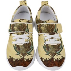 Wonderful Deer With Leaves And Hearts Kids  Velcro Strap Shoes