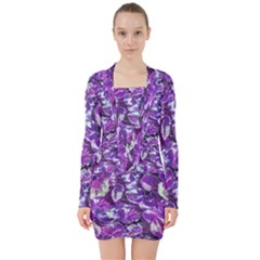 Botanical Violet Print Pattern 2 V-neck Bodycon Long Sleeve Dress by dflcprintsclothing