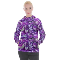 Botanical Violet Print Pattern 2 Women s Hooded Pullover by dflcprintsclothing
