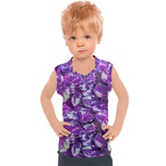 Botanical Violet Print Pattern 2 Kids  Sport Tank Top