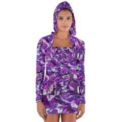 Botanical Violet Print Pattern 2 Long Sleeve Hooded T-shirt by dflcprintsclothing