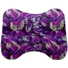 Botanical Violet Print Pattern 2 Head Support Cushion by dflcprintsclothing