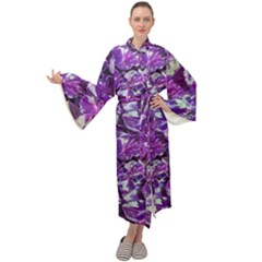 Botanical Violet Print Pattern 2 Maxi Velour Kimono by dflcprintsclothing