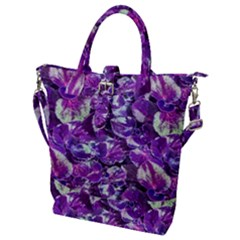 Botanical Violet Print Pattern 2 Buckle Top Tote Bag by dflcprintsclothing