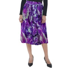 Botanical Violet Print Pattern 2 Classic Velour Midi Skirt  by dflcprintsclothing