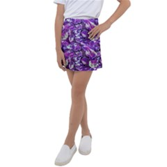 Botanical Violet Print Pattern 2 Kids  Tennis Skirt