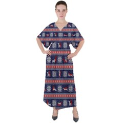 Christmas Deer Sex V Neck Boho Style Maxi Dress