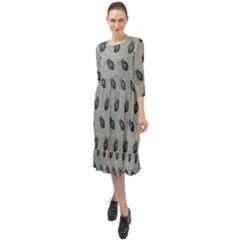 Army Green Hand Grenades Ruffle End Midi Chiffon Dress